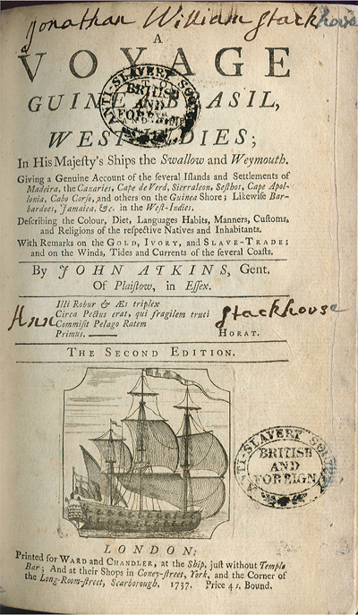 A Voyage to Guinea Brasil and The West Indies, in his majesty's Ships the Swallow and Weymouth, 1737